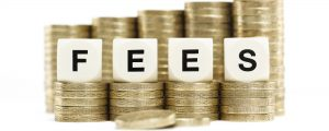 Investment / finance concept. The word FEES on dice on stacks of cold coins isolated on white background.